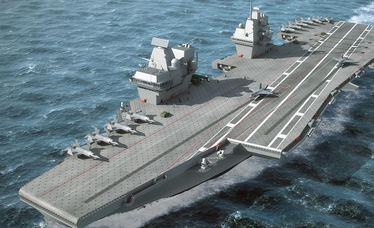 NATO blir mindre viktig, og de tosidige forbindelsene til Storbritannia kan bli viktigere for Norge. Bildet viser det britiske hangarskipet «Queen Elisabeth» som vil bli fullt operativt i 2020. Søsterskipet «Prince of Wales» er klart noen år senere. (Tegning: Royal Navy)